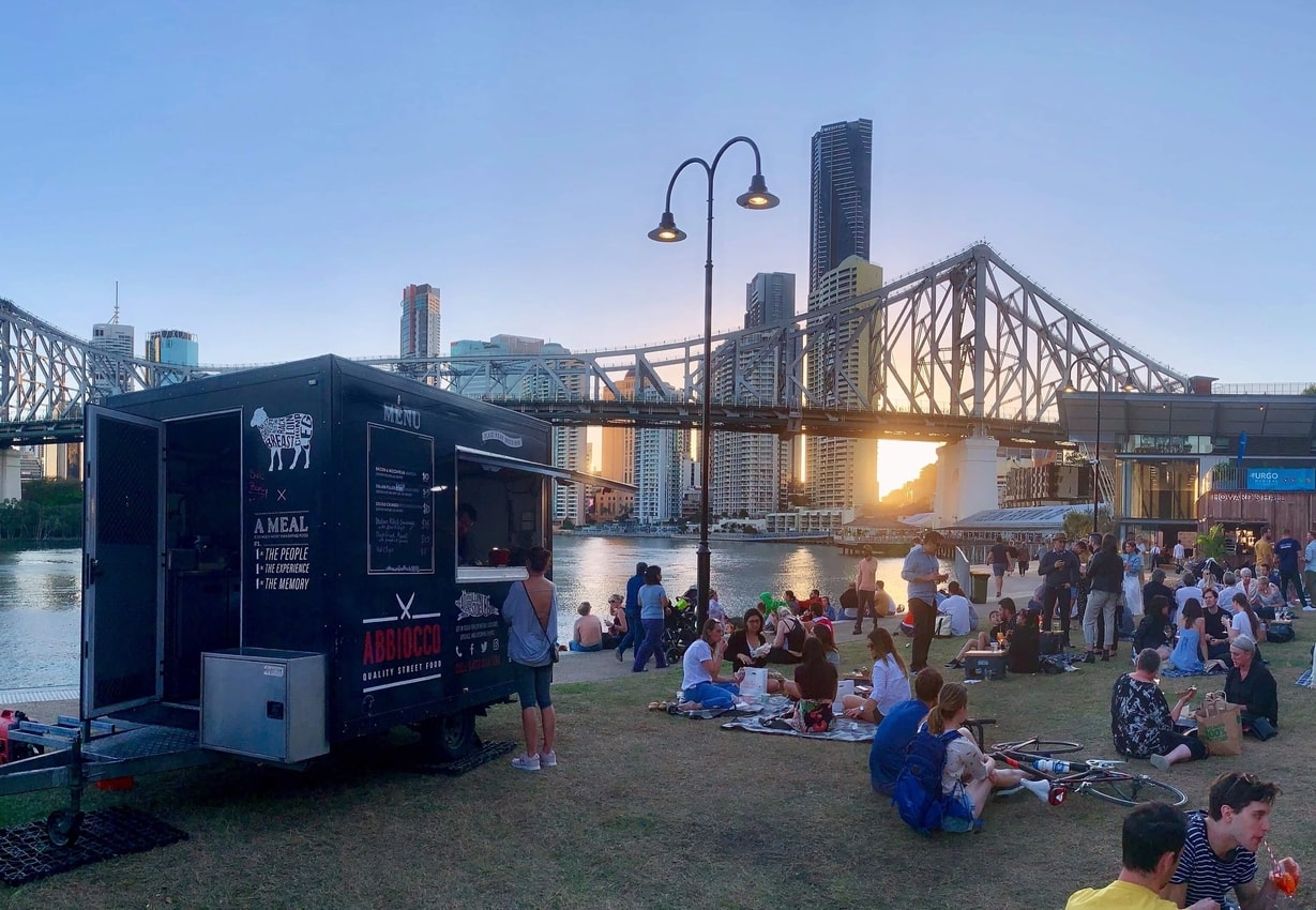 Brisbane story bridge with Abbiocco food truck